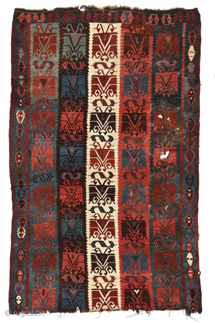 """Antique Anatolian Carnation kilim fragment (possibly Sarkisla),  5'3"""" x 8'5"""" (160 x 257 cm). Deep saturated 19th century colors. Professionally cleaned by R. Mann. --please inquire johnbatki@gmail.com"""