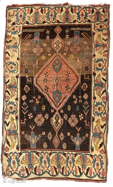 "Noble Old 19th century Bijar Pendant medallion carpet, with lots of gravitas, 4 x 6'4"" (122 x 193 cm). Please inquire at jbatki@twcny.rr.com"