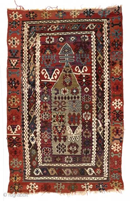 Antique Anatolian niche kilim, (PK-085) possibly Sivas region, 45 x 65 inches. johnbatki@gmail.com