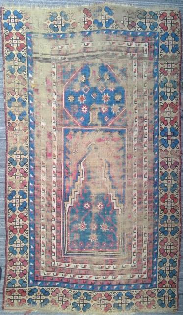 Very old Manastir prayer rug, 44 x 75 inches