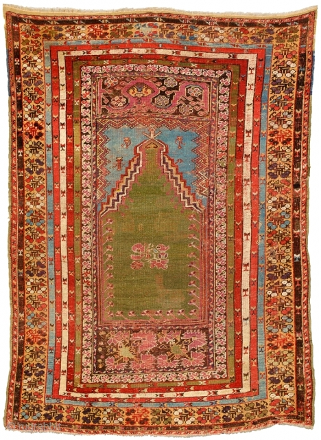 Mid 19 th century Anatolian Prayer . Size 119 x 171 cm. Very  nice Colors and amazing design. Evenly low pile, some area are profesional repiled.