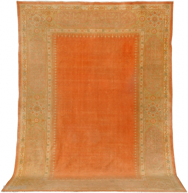 Very nice and rare  Oversize Feshane Ushak  Circa (1890-1900) with inscriptions evenly low pile, good and strong body ,just washed and the fringels are secured. Very decorative rug.