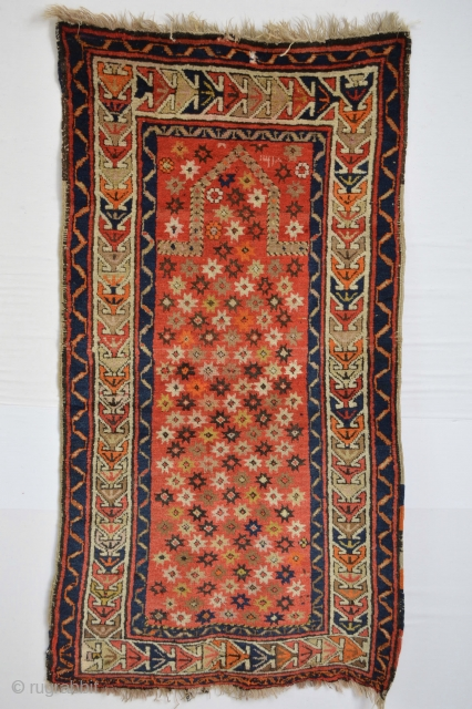 Gorgeous dated  1901 east anatolian kurdish prayer Full pile with a hole as shown