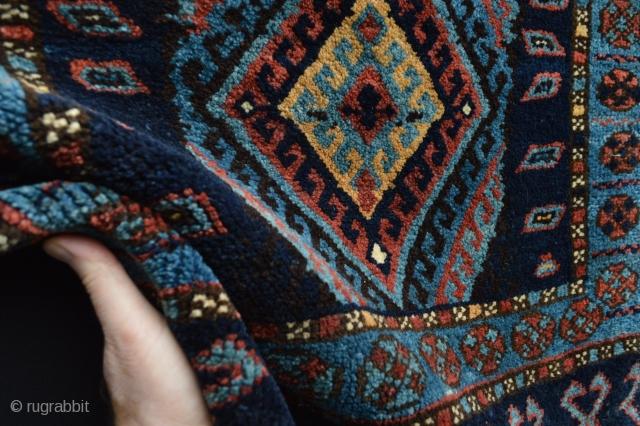 Very rare sigle diamond patern senjabi tribe kurdish bagface with beautiful blue main colors