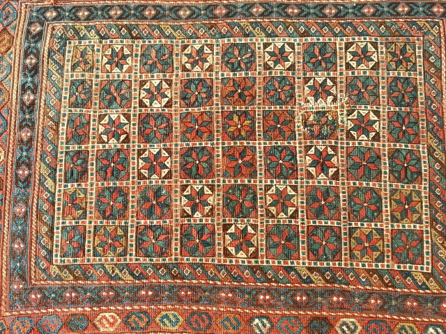 Early Snowdrops, Afshar Tribe 1850-1880. Soumak 3 dimensional flowers..