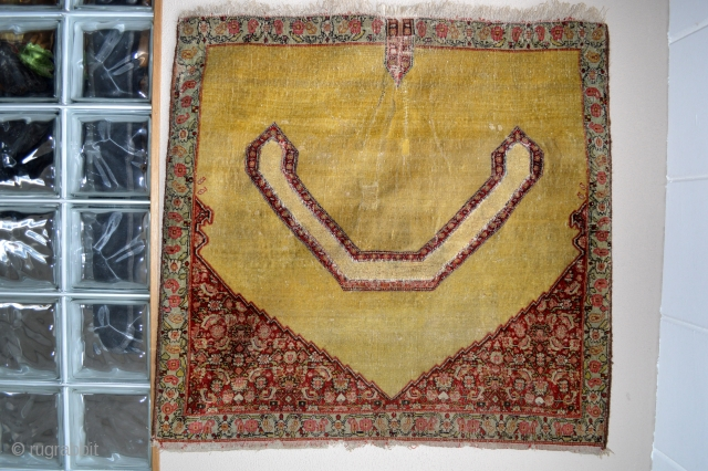 For Happy days Incredible fine Yellow 19th century kurdish saddle cover.