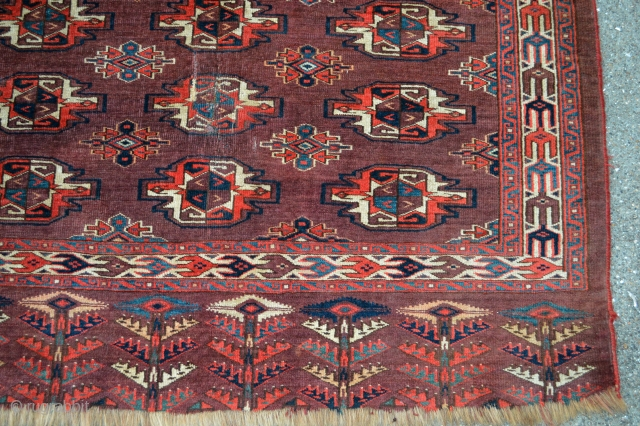Very nice and colorful Yomut Chouval circa 1850 100% vegetable natural colors,evenly low pile few old repairs.Good collectible tribal art..Check  this beautiful patern and colors see how decorative and collectible it  ...