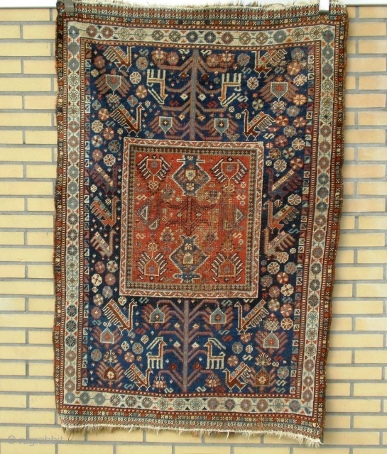 Very Rare Qashqai Confederecy smal rug. Specialy the Squarish central madalion with border combination.  check the tree of life to central madalion.. this total combination never see before.
