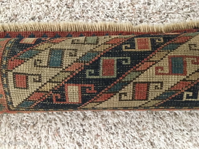 """Antique Kazak Prayer Signed & dated  36"""" X 51"""" Antique Kazak Prayer rug turn of century in good overall condition for age.  Needs to be cleaned.  Has woven date and prayer  ..."""