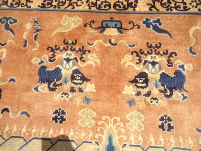 Tibet or Chinese seating rug with two dragons in the middle and beautiful design,fine weave,all good colors and fine weave.Good age,Size 5*3ft.E.mail for more info and pics.