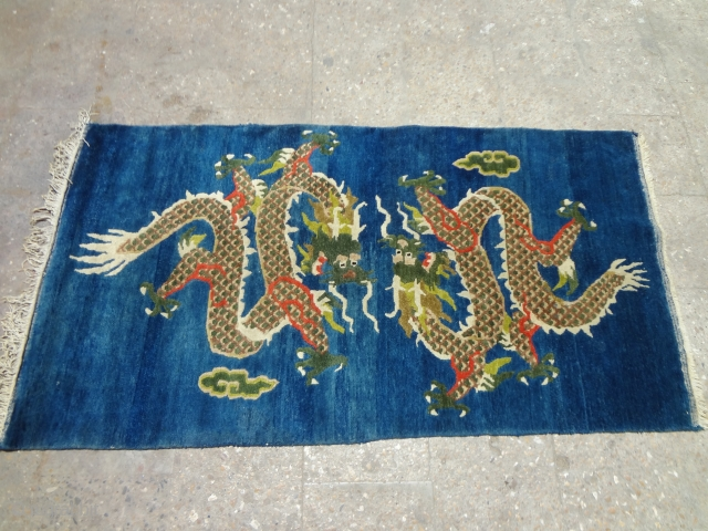 "Beautiful blue ground chinese dragon rug with great colors and shiny wool.Good condition and design.Size 5'7""*3ft.E.mail for more info and pics."