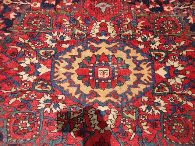 """Beautiful early Farahan Rug with great natural colors and very nice design,good weave.Some condition issues.Size 4'9""""*3'6"""".E.mail for more info and pics."""