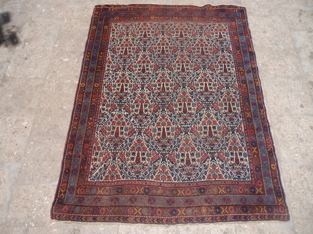 "Ivory Ground Afshar rug with garden design,all good colors fine weave,good age.Size 5'7""*4'2"".E.mail for more info and pics."