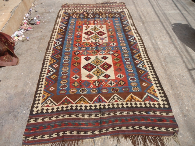 "Large colorful Qashqai Kilim with all good color,fine weave.Size 9'7""*5ft.E.mail for more info and pics."