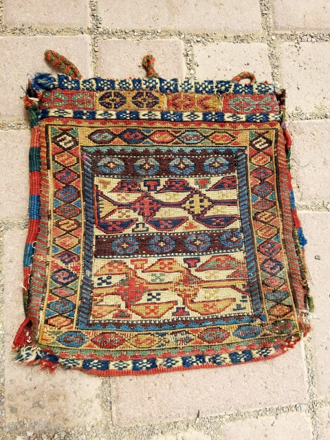 Soumac Chanteh with original kilim backing all natural colors, good design and condition. Size 11'*10'.E.mail for more info and pics.