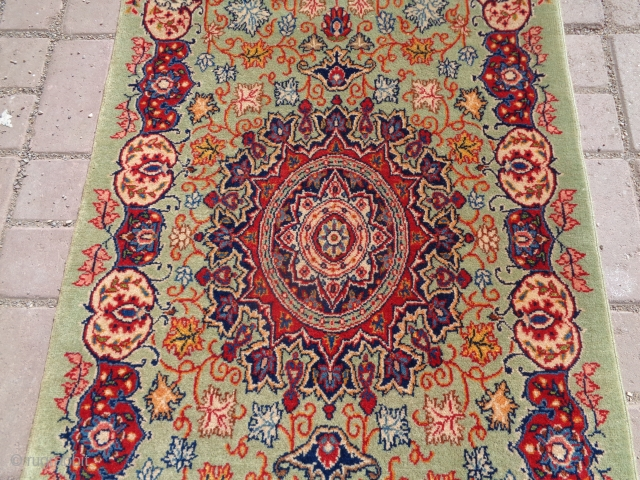 """Kirman Mat with great colors and beutiful design,fine weave and soft shiny wool,very good condition,without any repair or work done.Size 5'4""""*2'1"""".E.mail for more info and pics."""