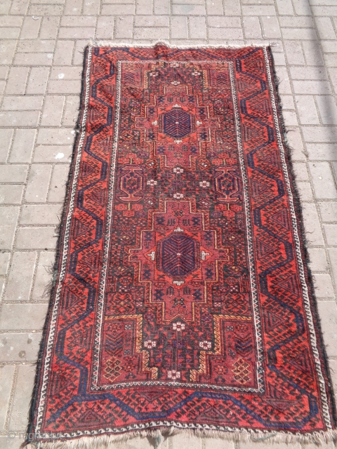 """Firdousi baluch rug with good design and colors,all original without any repair or work done,Size 5'10""""*3'3"""".E.mail for more info and pics."""