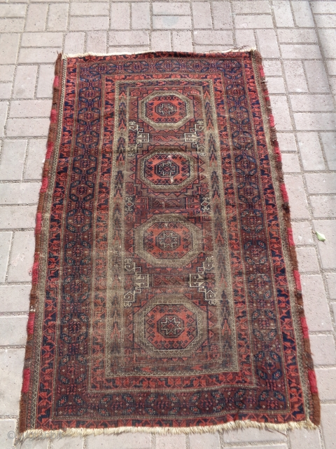 """Baluch rug with beautiful colors and border,just oxidation to black,all good colors,without any work done,Size 5'1""""*3'2"""".E.mail for more info and pics."""