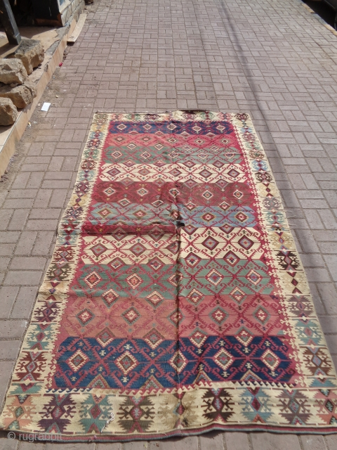 """Colorful Anatolian Kilim with all natural colors and fine weave.good design and condition,just cut and swen in one part.Size 8'10""""*4'11"""".E.mail for  more info and pics."""
