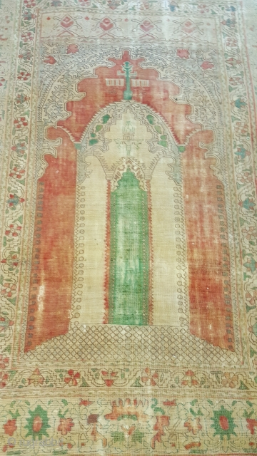 Antique Ottoman Prayer rug (tinted)