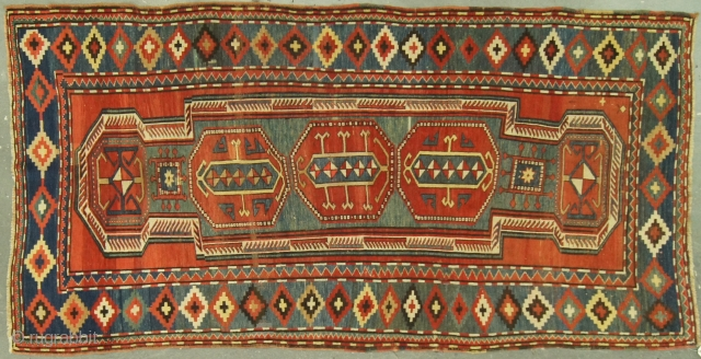 Caucasian Kazak, c. 1900. 4½ x 9 ft (140 x 270 cm), good condition. Double shield design. Reduced from $9,900.