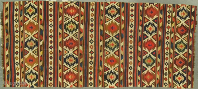 Caucasian Kilim, possible Shirvan, 19th c. 4½ x 9½ ft(140 x 290 cm), mint condition. All dyes are natural.