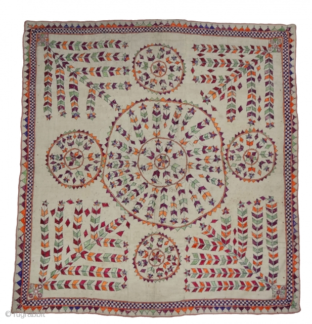 Chakla Wall Hanging From Saurashtra Gujarat India.This were Traditionally used mainly by Kathi Darbar family of Saurashtra Gujarat India.C.1900.Its size is 137cmx145cm(DSC04260 New).