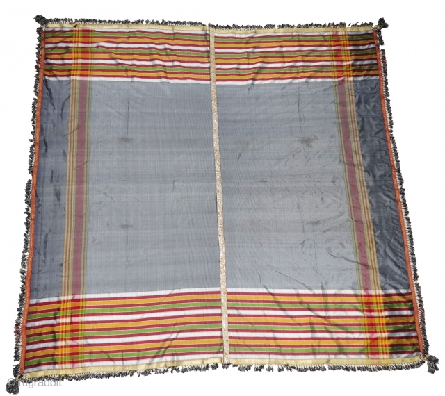 Malaya Shawl from Sindh,Pakistan, India.It has been used by man in Hajj time.Its size is 190cmX196.Its fabric is silk and Banana mix.Very early and rare Piece(DSC04326).