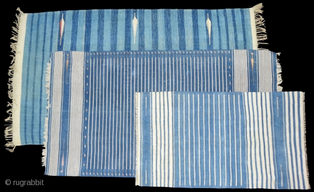 Three Different Style and Size Indigo Blue,Jail Dhurries(Cotton)Blue-White striped with mahi motif. Bikaner, Rajasthan. India.C.1900.Good Condition(DSC04436 New).