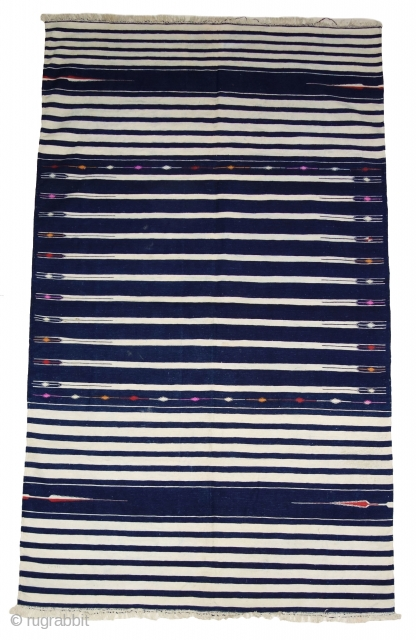 Indigo Blue,Jail Dhurrie(Cotton)Blue-White striped with mahi motif. Bikaner, Rajasthan. India.C.1900.Its size is 120X205cm. Condition is very good(DSC07808).