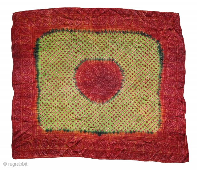 Tie And Dye Rumal, Gajji-Silk From Kutch,Gujarat, India.C.1900.Belongs Khatri Muslim dyers Community of Kutch Gujarat for there Wedding use.Its size is 61cmX70cm(DSC05419).