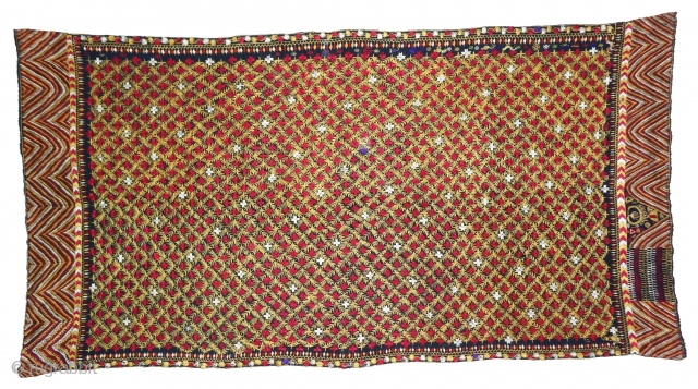 Indigo-Colour Phulkari From East(India)Punjab Region of India. India.Silk on Indigo Dyed Hand Spun Cotton ground.Showing the Rare Influence of Jewelry Figure Dancing Peacock and Birds.C.1900.Its size is 124cmX245cm(DSC05632).