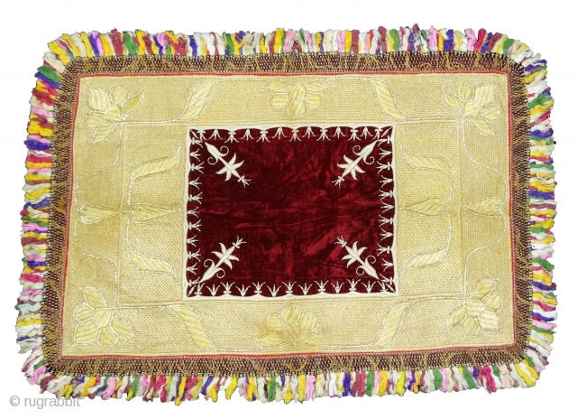 Zardozi Kalabattu Embroidery(Real Zari)Work Velvet Carpet, with real zari frills and cotton threads,This piece Known as Bhichana from the Royal Nawab Family of Uttar Pradesh. India.C.1900.Its size is 93cmX133cm(DSC05285).