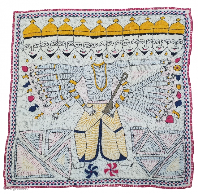 Ravan Kantha Quilted and embroidered cotton Kantha Probably from West Bengal region of India, India.C.1900. Its size is 40cmX41cm(20200502_160625).