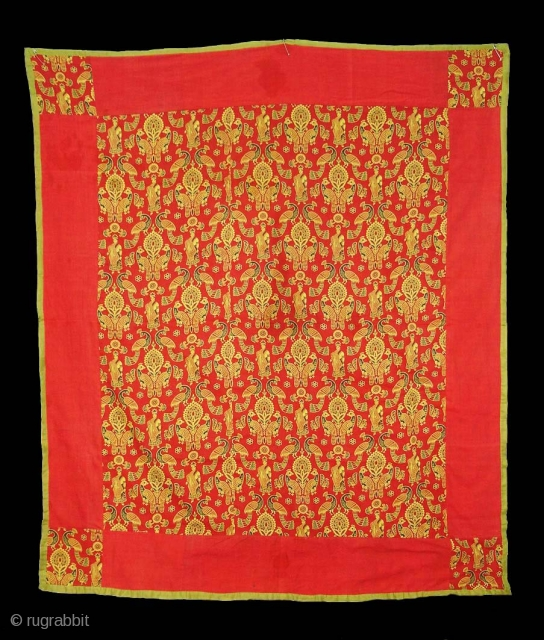 """Pichwai of Krishna's Lila or Morakuti, Shrines as Divalgiri Roller-Printed on cotton.Gujarat India.Used in Small Private Shrines as a Divalgiri or Ter, The Festival depicted here is the """"Hatadi"""" Celebrated on the  ..."""