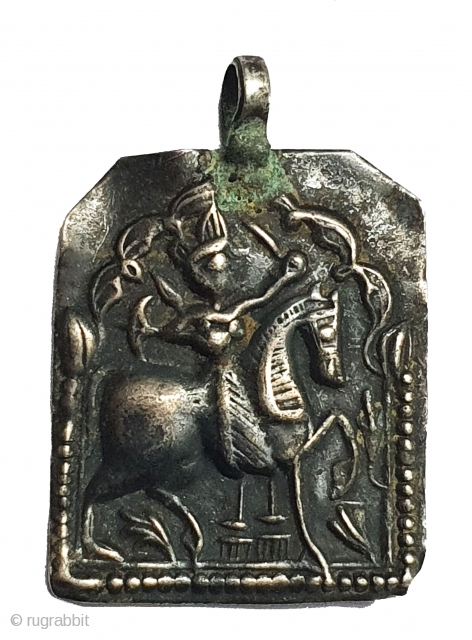 Tribal Indian Silver Pendant of Ramapir From Kutch Gujarat India.India. C.1900(20200624_162342).