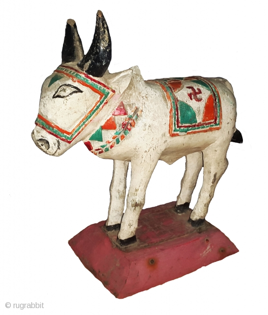 Tribal Wooden Toy Nandi (Bull),From Maharashtra. India. Very Good Condition, Teak Wood. Size: 9 x 21 x 23 cms