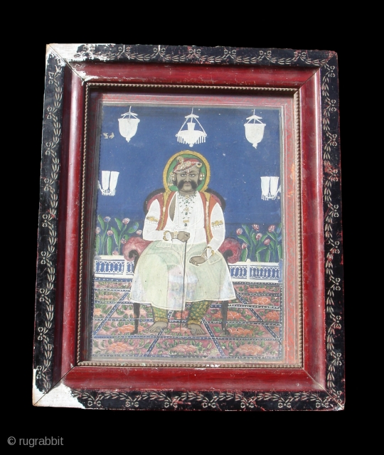 Miniature Painting Of Maharaja From Kishangarh,Rajasthan,India.Circa 1900.Its size is 27cmX32cm.(DSC00096 New).