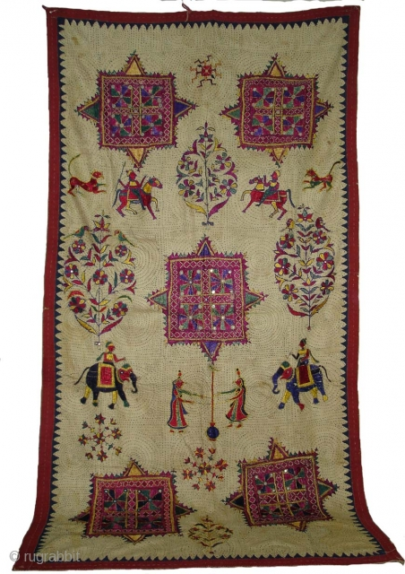 Wall Hanging  Probably From Saurashtra Gujarat.India.Known As Dharaniya. used as wall Decoration by Kathi Darbar Family.Very rare Wall Hanging.Early 19th Century.
