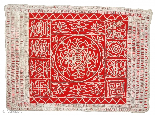 Jain Shrine cloth Ashtamangal, Chain Stitch embroidered Silk on wool,From Kutch, Gujarat, India.Its size is 30x40cm. c.1900. Condition is very good(DSC08028 New).