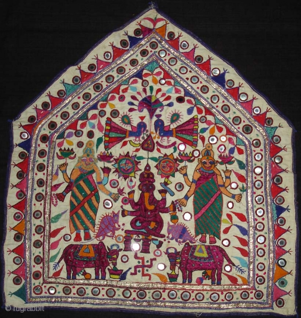 Ganesh Sthapana Wallhanging.its an Embroidered shrine Cloth Used on Special occasions by the kanbi farming caste of Saurashtra Gujarat India.Very rare Ganesha.