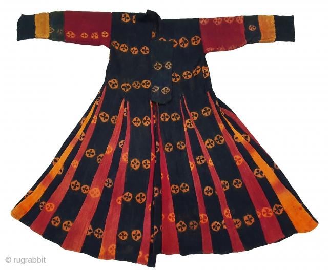 Zanskar women's Costume(Coat)From Ladakh.India. It's Pure Indigo Blue (Dark Black Type) colour has been used and made from yaks Wool. C.1900.This Type of Tie and Dye known as Thigma.Its size is L-120cm,Shoulder  ...