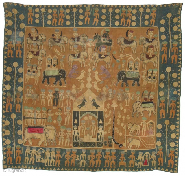 Kanduri shrine Applique cloth It is presented by Pilgrims as on offering on the grave of the muslim prince Sara Masoud in Varley, Uttar Pradesh. India .(DSC07854)