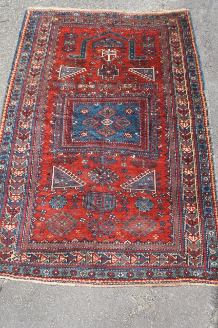 """Kazak prayer rug, last quarter of the 19th C. 4' x 6' 1"""". All good colors with thick glossy wool. Small area of past moth damage on reverse. No rot, odor, stain  ..."""
