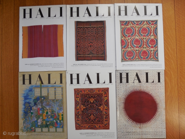 HALI: Issues 130,131,132,133,135 and 137. All in excellent condition, subscription insert cards never removed.