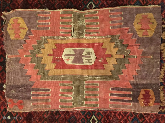 Early Central Anatolian Kilim Fragment, ca.1800, 50x80cm, great early colors with a beautiful aubergine background and a very nice patina.