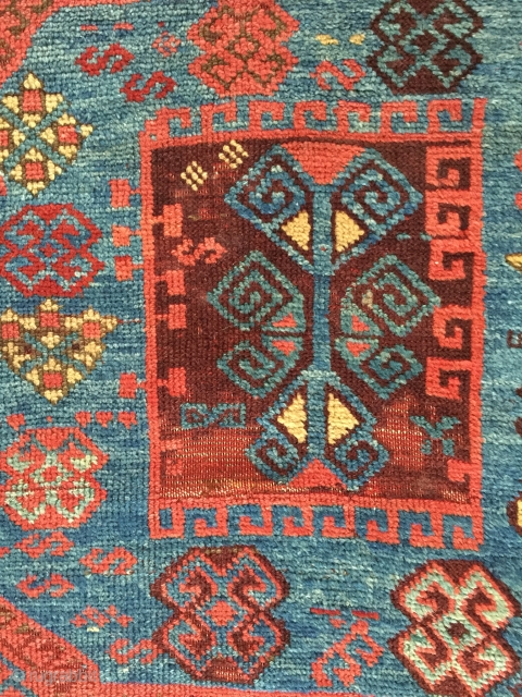 Antique East Anatolian divan rug fragment, 1850-1890, 218x96 cm. Nice colours as is but they will be even better after a wash.