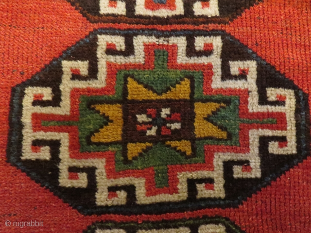 Old Kelardasht rug, 211x106 cm, made in a Kurdish village close to the Caspian sea about 1920, OK contition, two small repairs and some low pile. Nice colours. Paypal is OK.