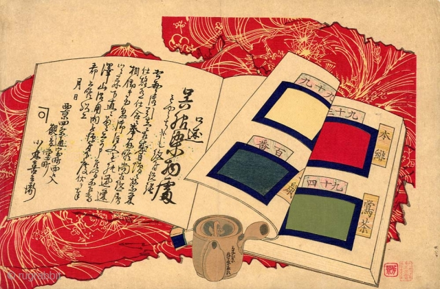 Original Japanese woodblock print with a book of textile samples on a red cloth and a tea-pot. Unsigned, late 19th century. 25,4x38 cm. This unusual print was probably used for advertising of  ...