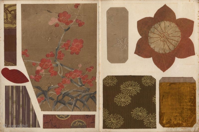 Japanese orihon album Kogire harikomicho (Album of antique textiles fragments). Ninty-five fine fragments of antique Japanese textile including brocades and embroideries pasted on twenty-eight pages. 24x18 cm.